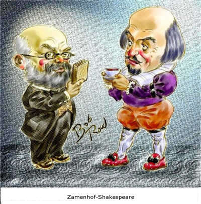 Caricatura de Zamenhof con Shakespeare
