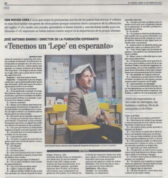 Novaĵo en ĵurnalo El Mundo 2011-01-31