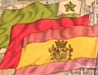 Banderas republicana, roja y esperantista en cartel de los años 30