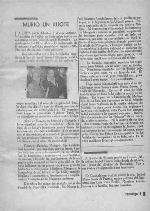 anuncio de la muerte de Mangada en la revista Renobasión