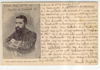 Postal con la imagen de Vicente Inglada Ors
